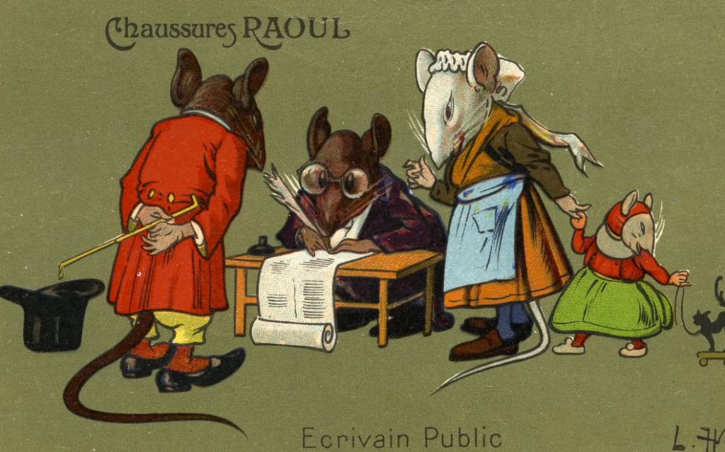 carte postale léon hingre chaussures raoul Ecrivain public