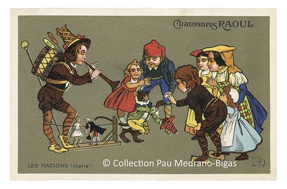 carte postale léon hingre chaussures raoul nations Italie